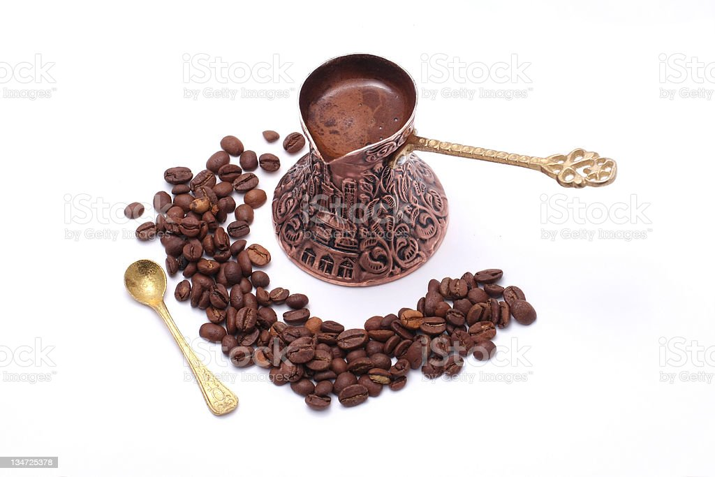 Old fashioned hand made coffe pot from Bosnia royalty-free stock photo