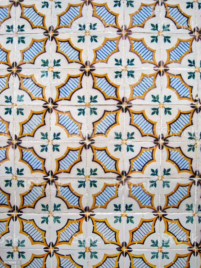 Old Fashioned Hand Painted Portuguese Mosaic stock photo