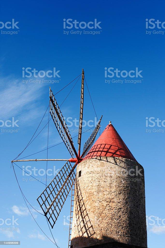 old fashioned historic spanish windmill, Majorca royalty-free stock photo
