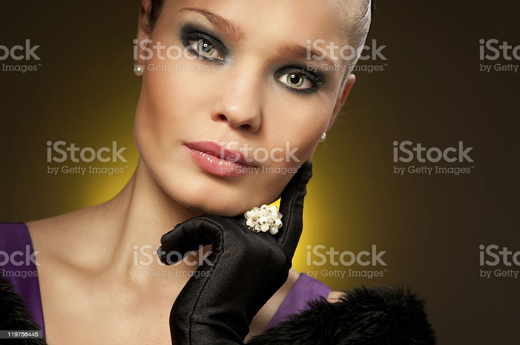 Old fashioned Hollywood style portrait of adorable diva stock photo