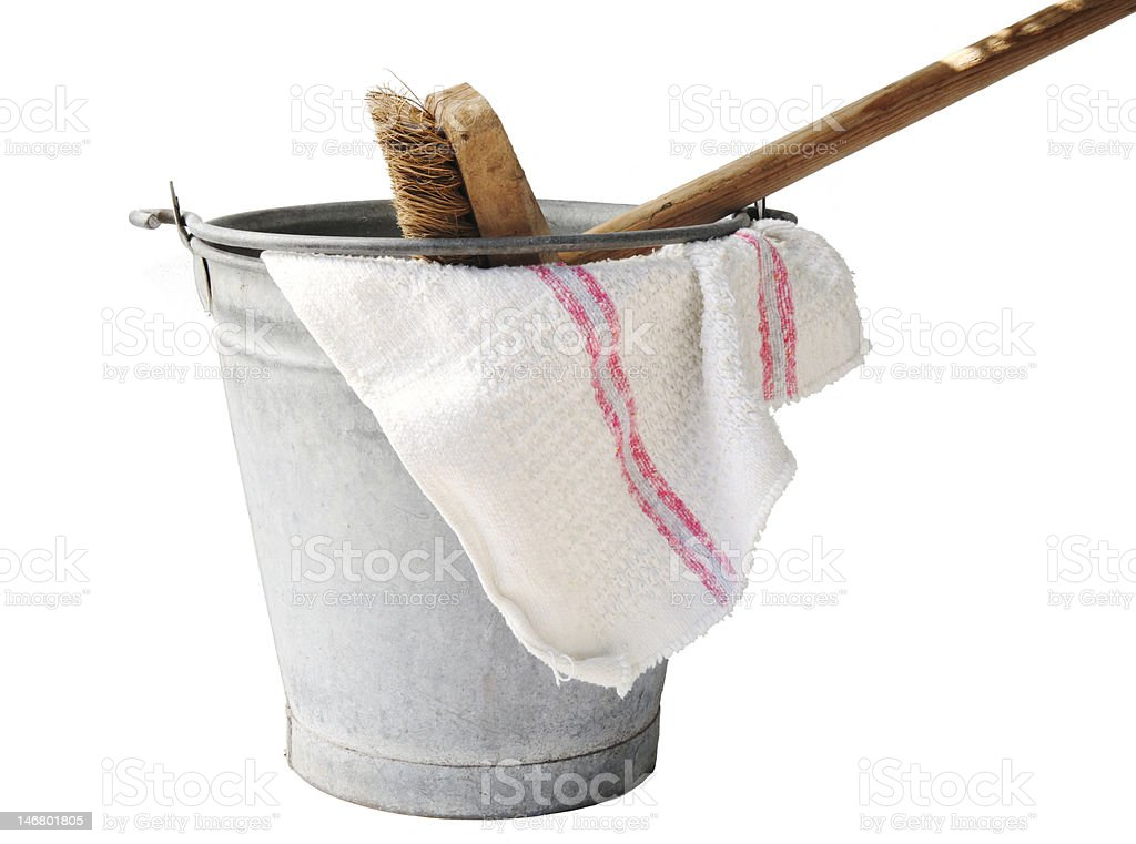 Old fashioned housekeeping with zinc bucket royalty-free stock photo