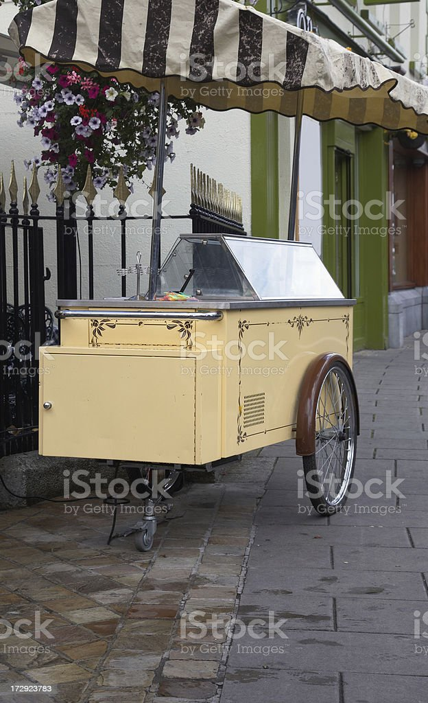 Old fashioned Ice cream bicycle trailer royalty-free stock photo