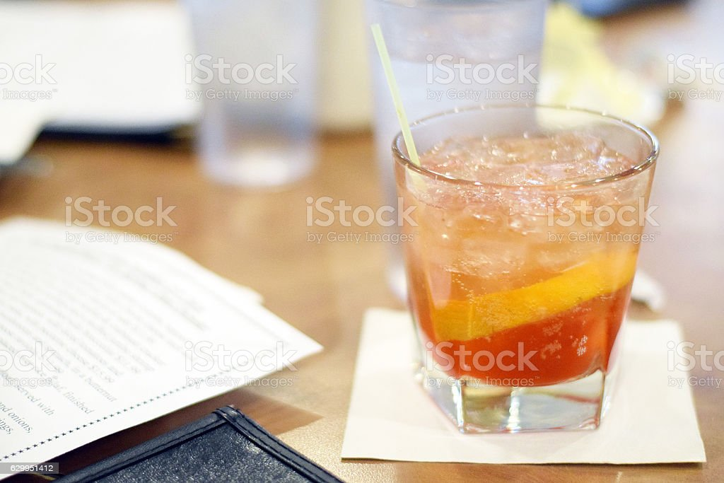 Old fashioned in glass stock photo