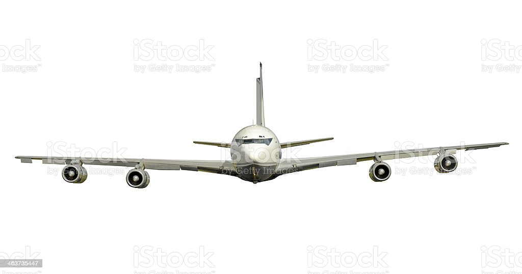 Old fashioned jet airplane isolated stock photo
