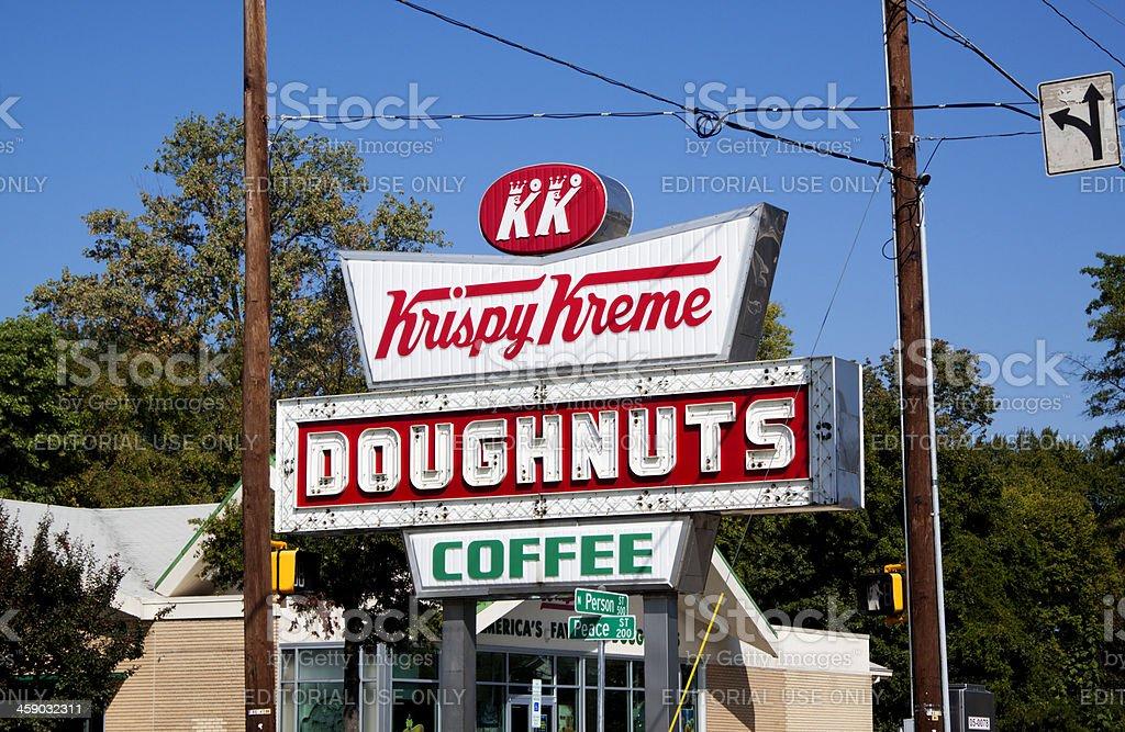 Old Fashioned Krispy Kreme Doughnut and Coffee Sign stock photo