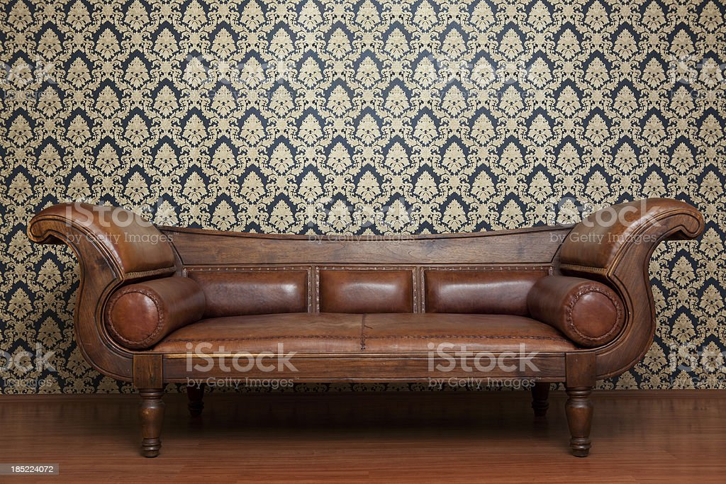 Old Fashioned Leather Sofa And Wallpaper Pattern Royalty Free Stock Photo