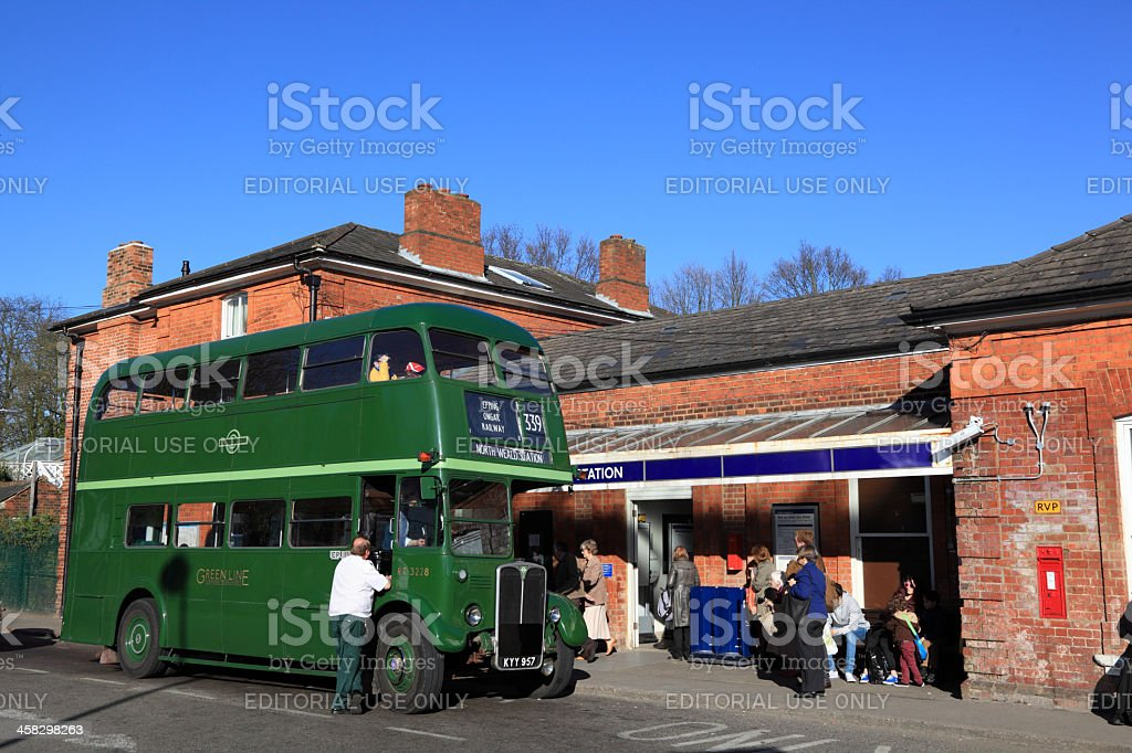 old fashioned london bus at Epping underground station royalty-free stock photo