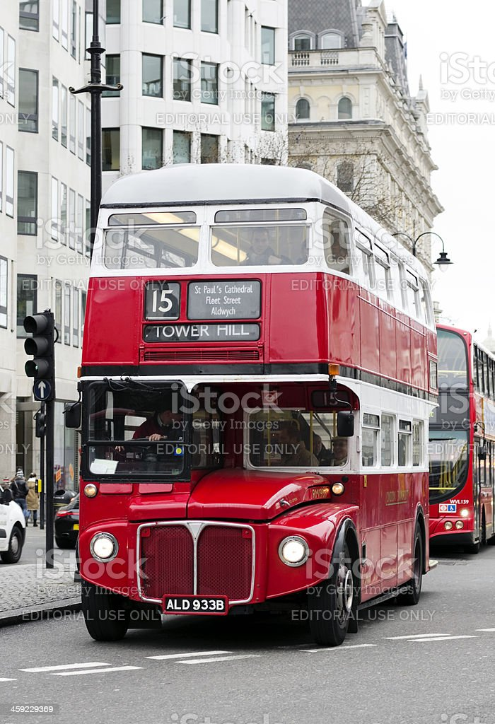 Old fashioned London bus in Fleet Street stock photo