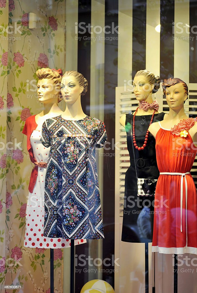 Old fashioned mannequins and window shopping. royalty-free stock photo