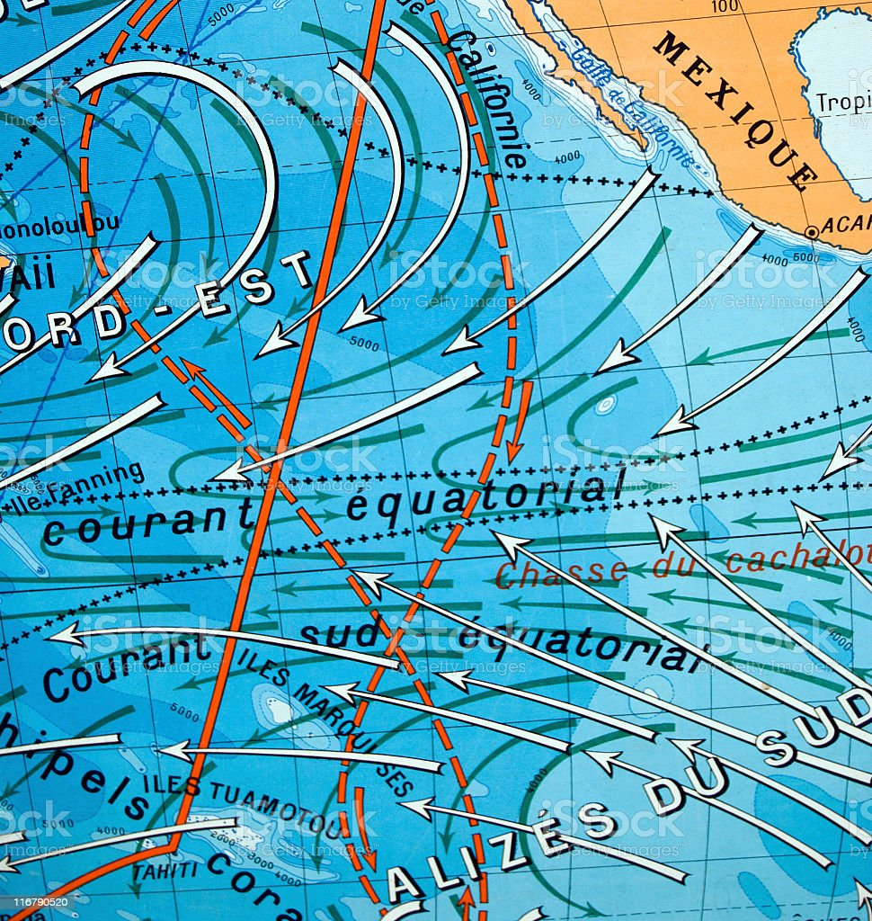 Old fashioned map of the ocean currents. royalty-free stock photo