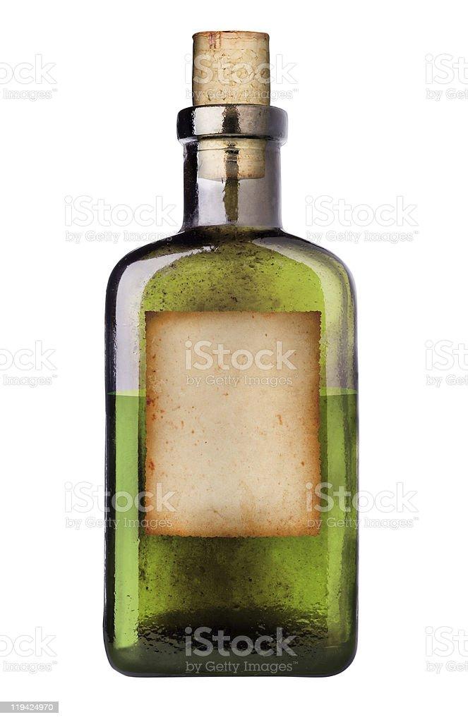 Old fashioned medicine bottle three quarters full stock photo