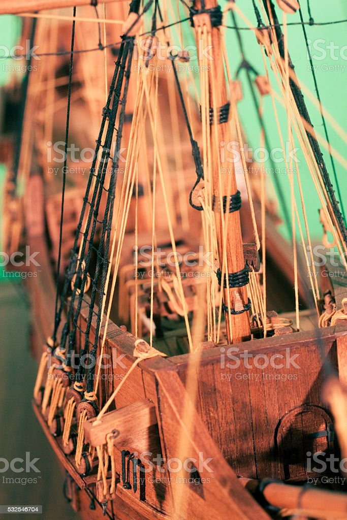 Old fashioned model ship stock photo