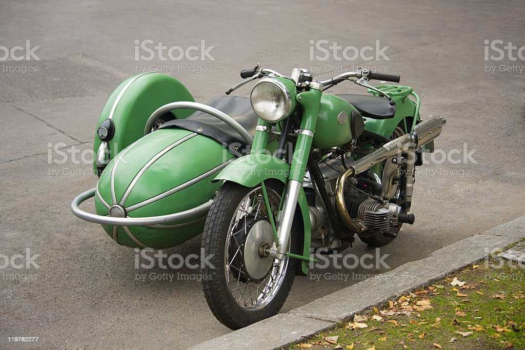 Old fashioned motorcycle with sidecar stock photo