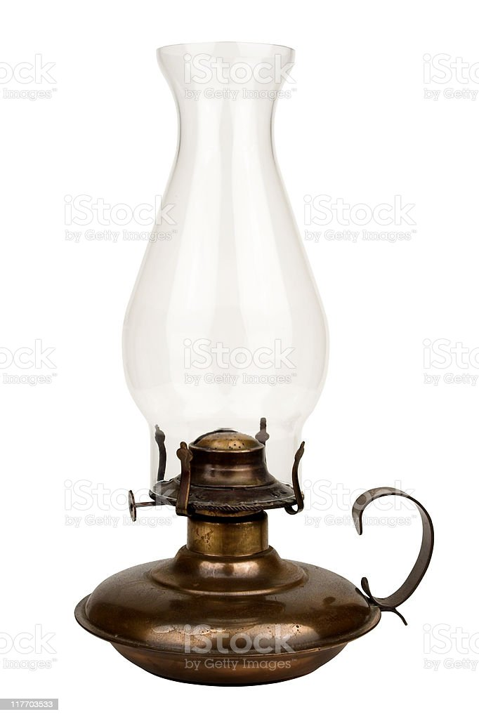 Old Fashioned Oil Lamp  Isolated On White stock photo