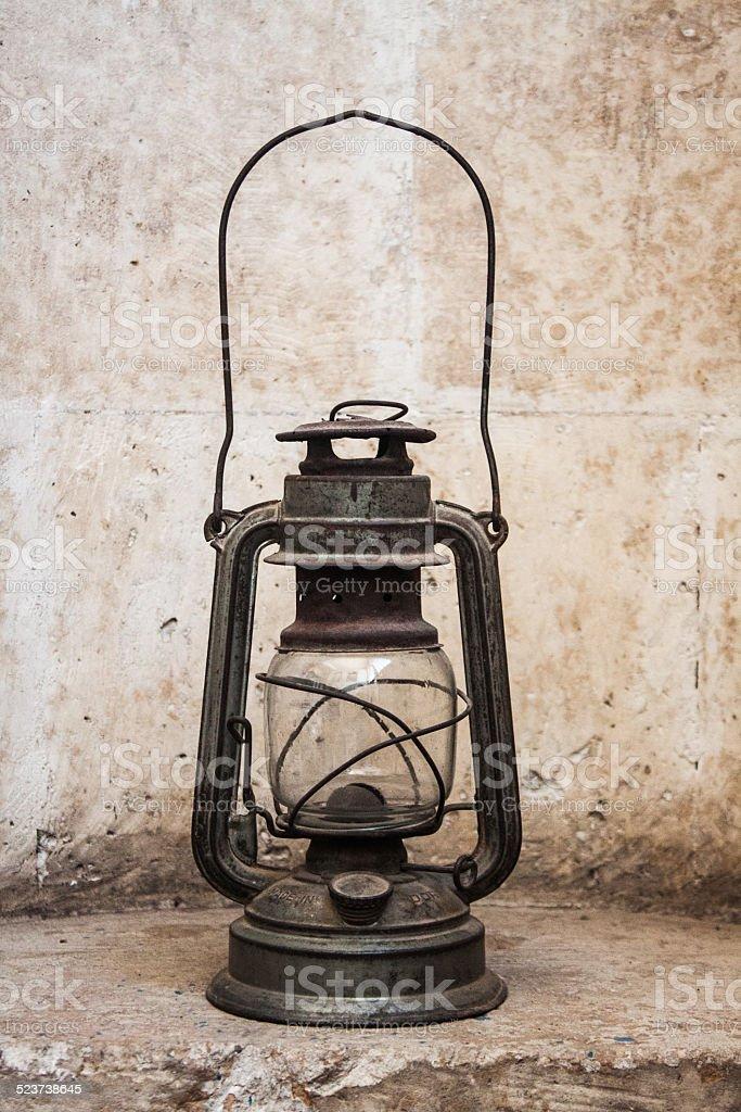Old fashioned oil lamp, metal lantern stock photo