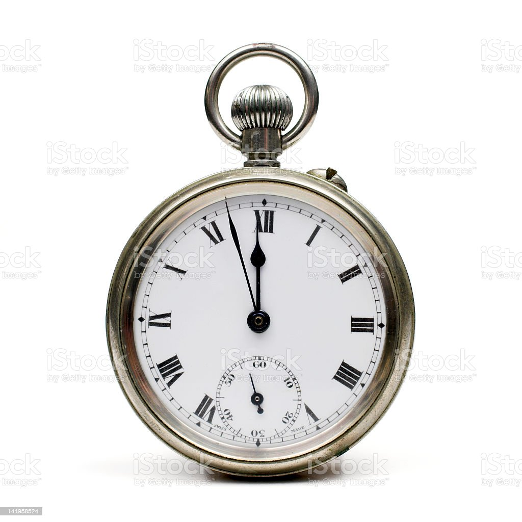 Old fashioned pocket watch on white background stock photo
