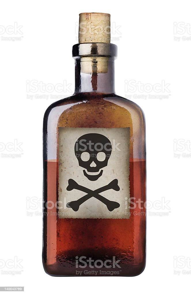Old fashioned poison bottle. stock photo