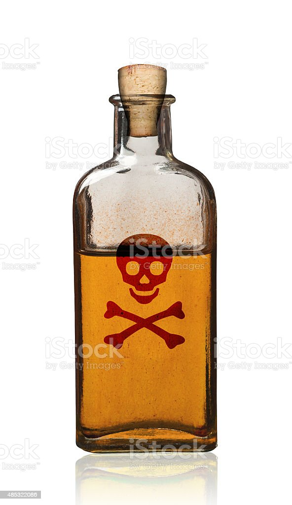 Old fashioned poison bottle with label, isolated. stock photo