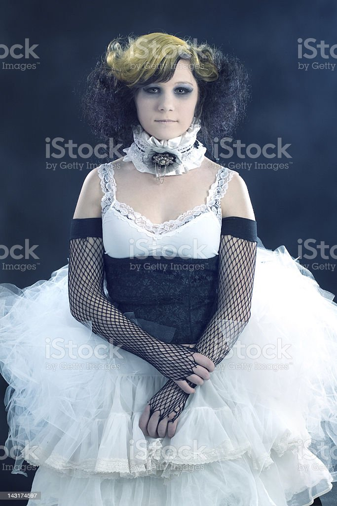 Old Fashioned Portrait of Teenage Girl Wearing Period Costume royalty-free stock photo