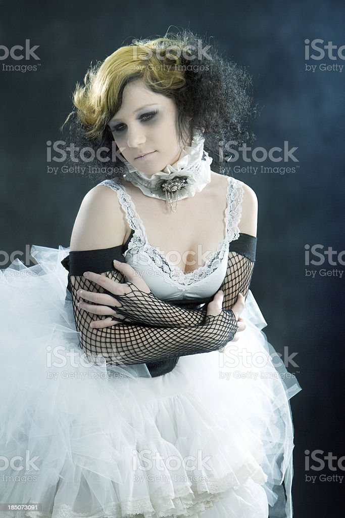 Old Fashioned Portrait of Teenage Girl Wearing Period Costume stock photo
