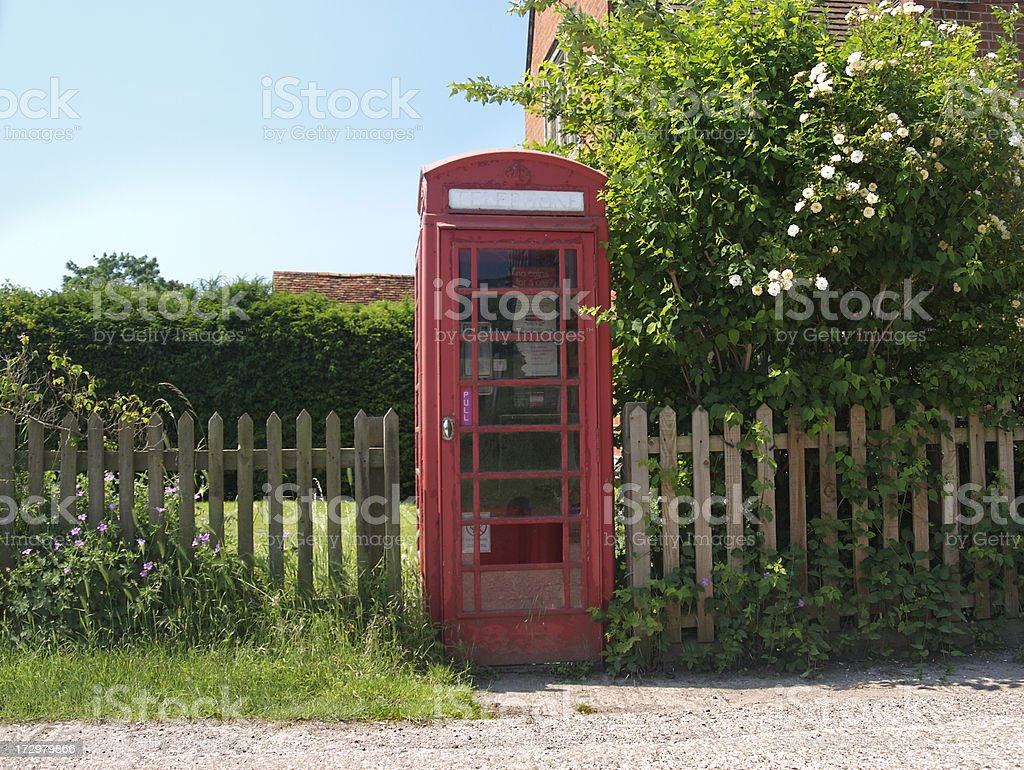 Old fashioned red phone box stock photo