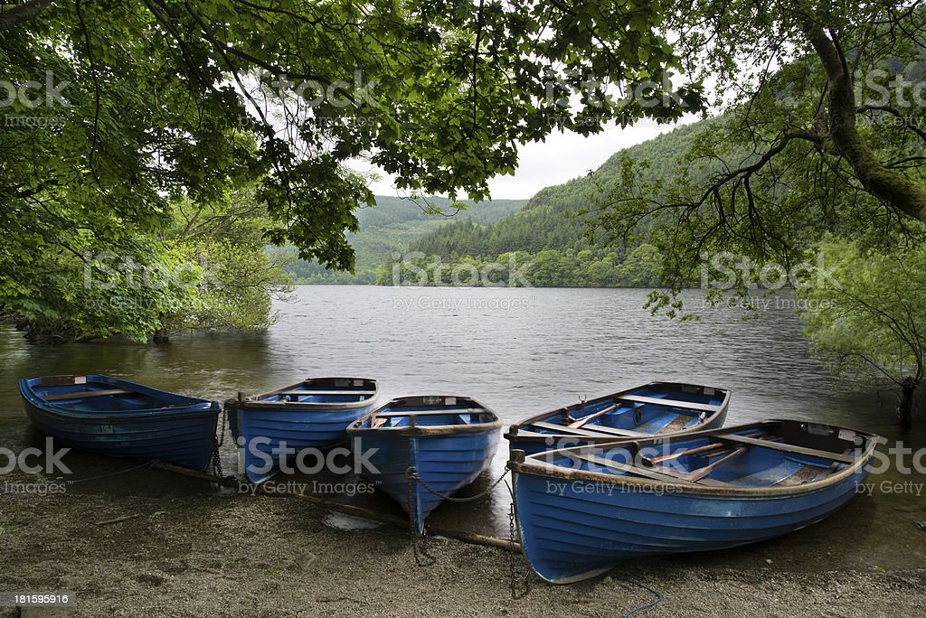 Old fashioned rowing boats on shore of lake in Summer royalty-free stock photo