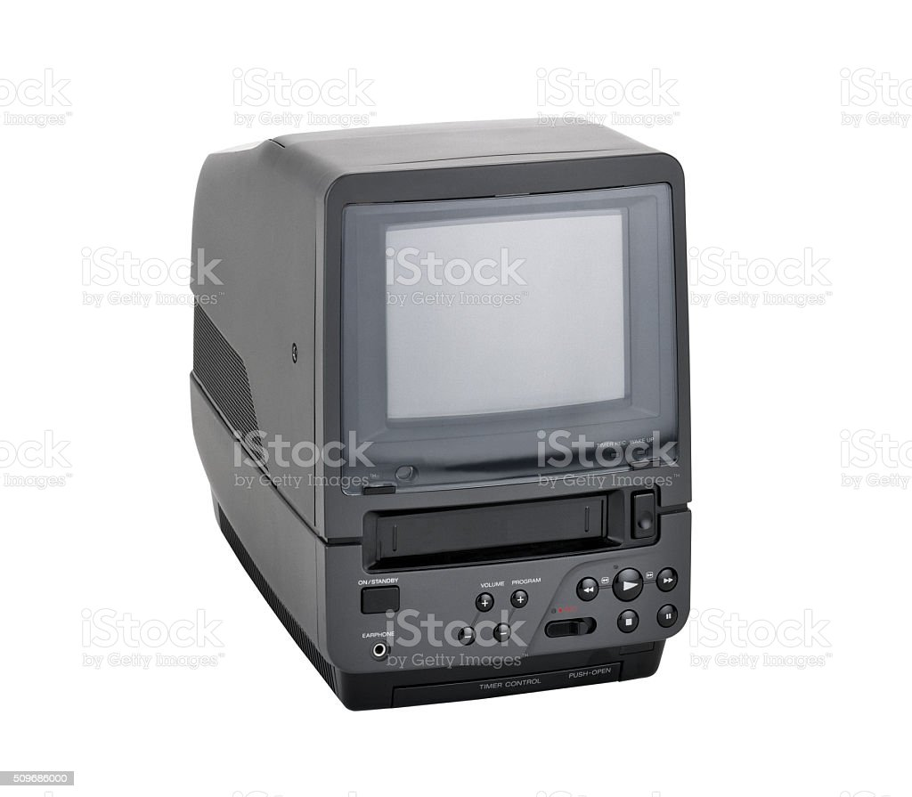 Old fashioned screen monitor in combo with vhf reader stock photo