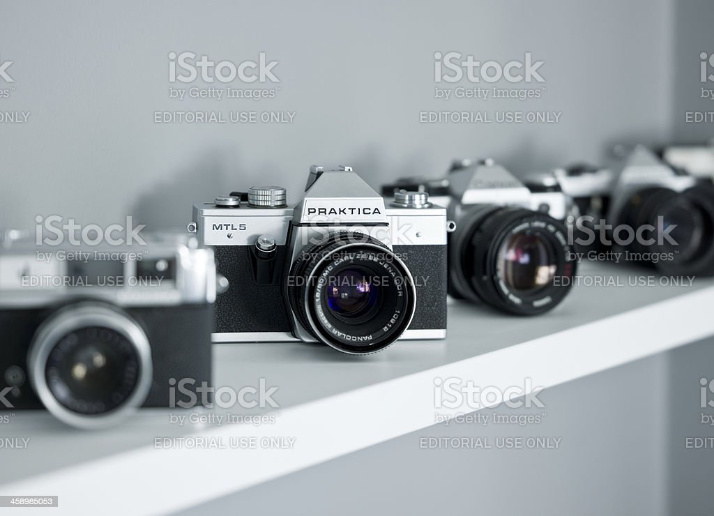 Old fashioned SLR Cameras stock photo