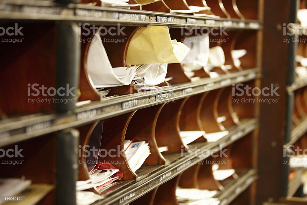 Old fashioned sorting office on train stock photo