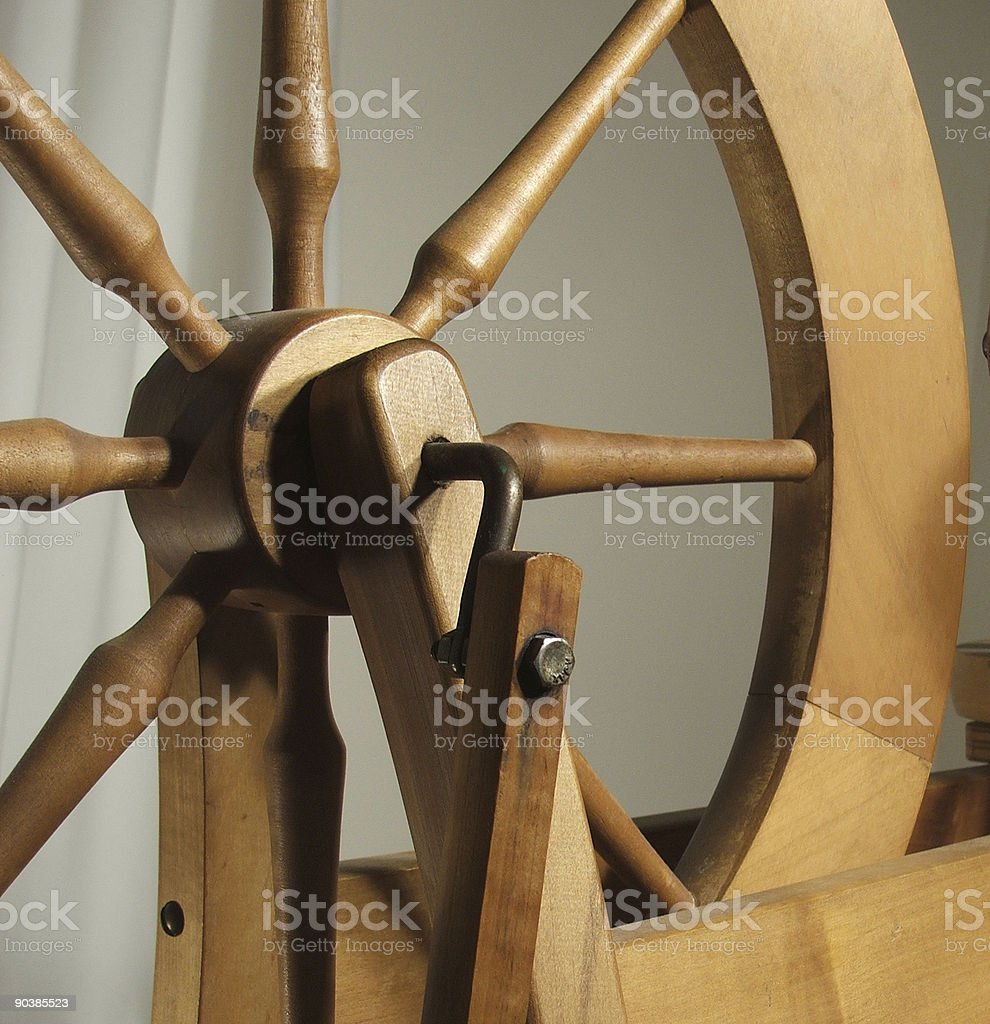 Old fashioned spinning wheel - detail royalty-free stock photo