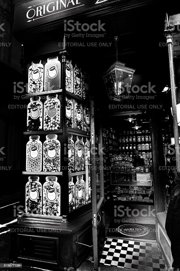 Old fashioned sweet shop façade on London street stock photo