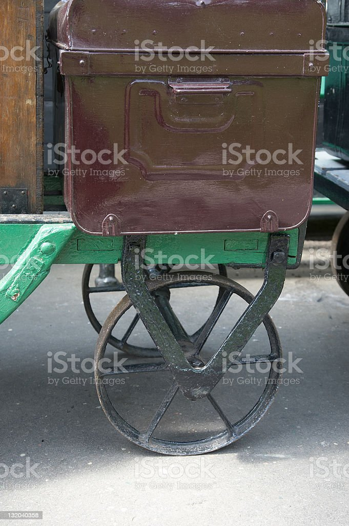 Old fashioned tin luggage on trolley royalty-free stock photo