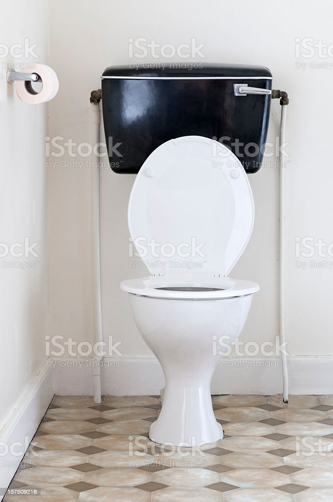 Old fashioned toilet stock photo