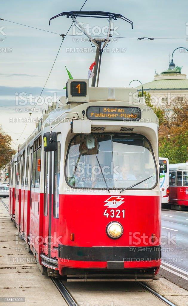 Old fashioned tram in Vienna, Austria stock photo