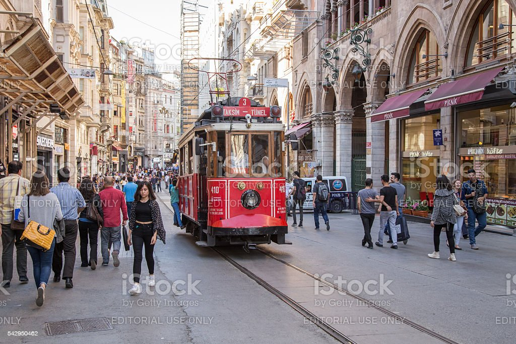 Old fashioned tram on Istiklal street, Istanbul. stock photo