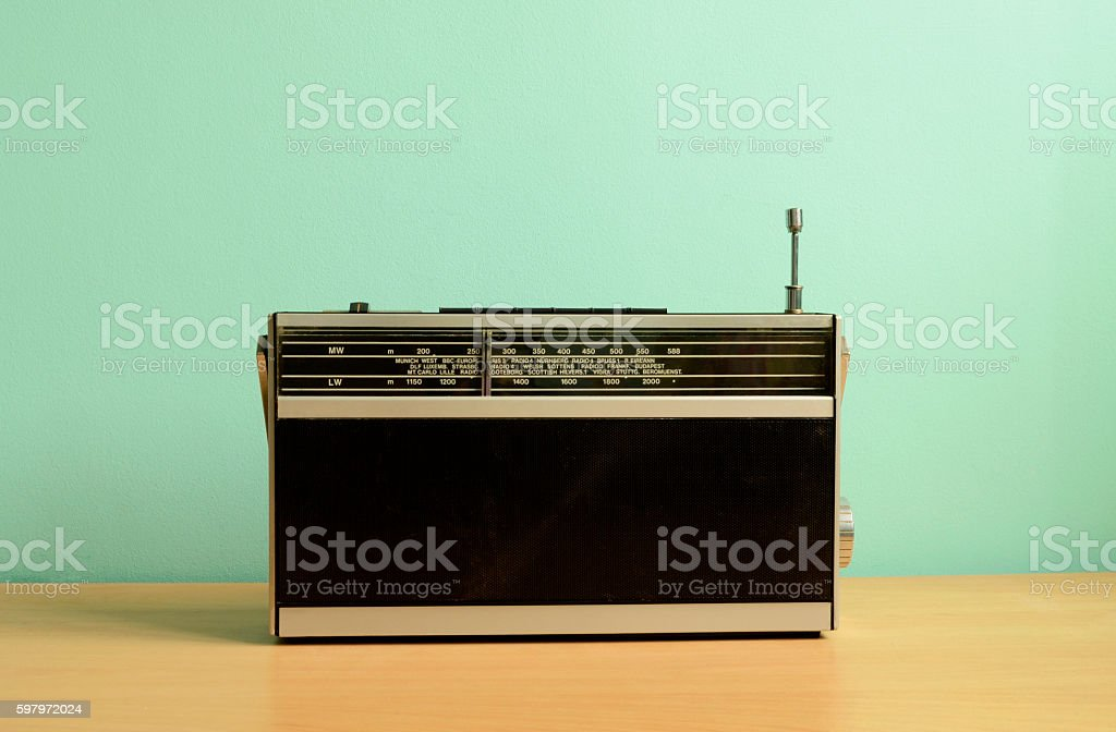 Old Fashioned Transistor Radio stock photo