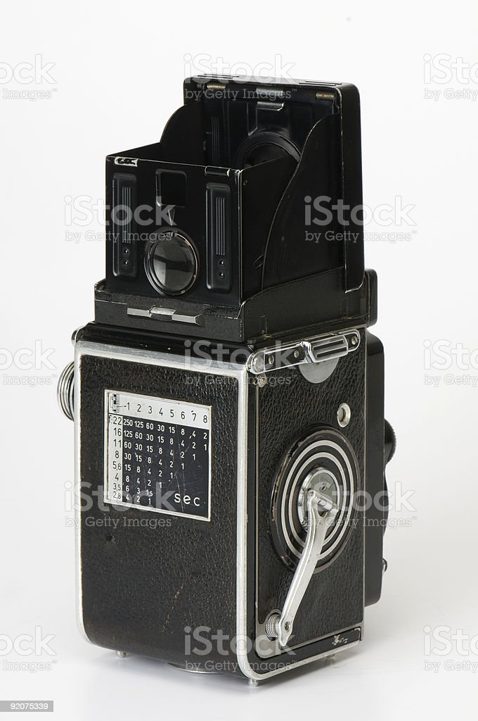 Old fashioned Twin Lens Reflex Camera stock photo