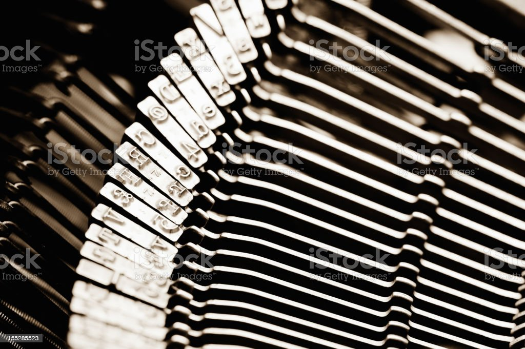 old fashioned typewriter typebars letters royalty-free stock photo