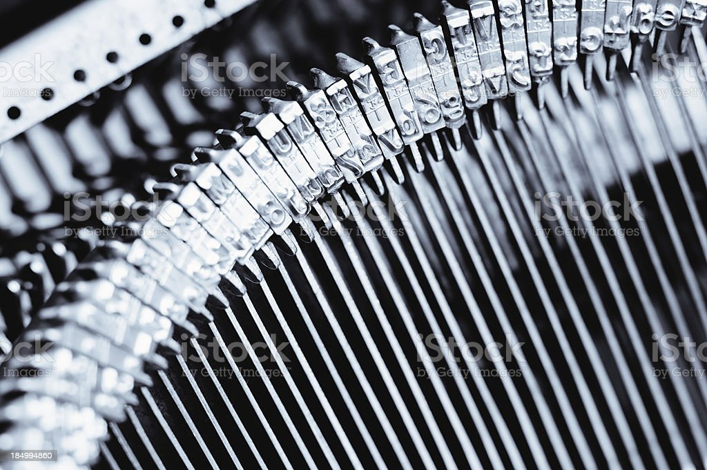 old fashioned typewriter typebars - type letters royalty-free stock photo