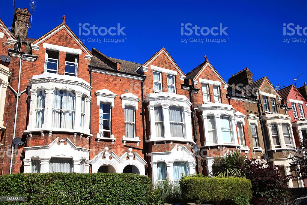 Old fashioned typical Victorian terraced town houses stock photo