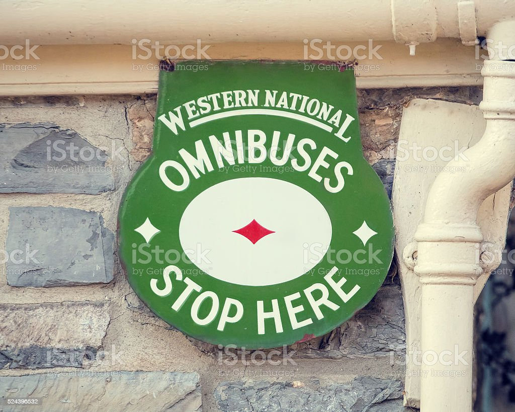 Old Fashioned Vintage Bus Stop Sign. Omnibus Western National Transport stock photo