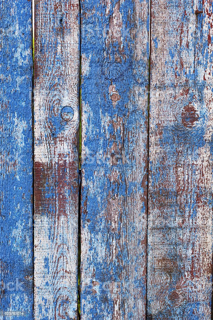 Old fence from wooden timbers stock photo