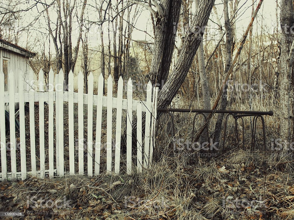Old fence in autumn royalty-free stock photo
