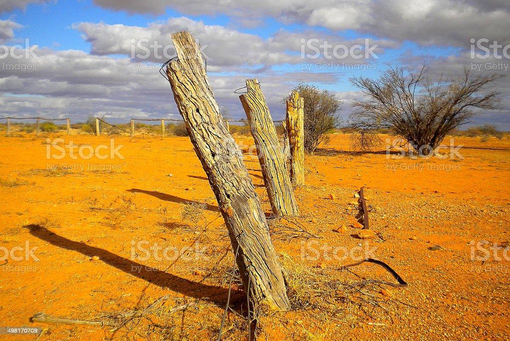 Old Fence, Simpson Desert, Australia stock photo