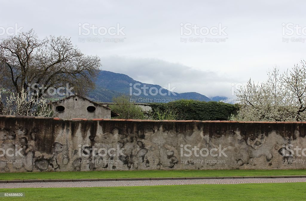 Old fence wall with patina with mountains background. stock photo