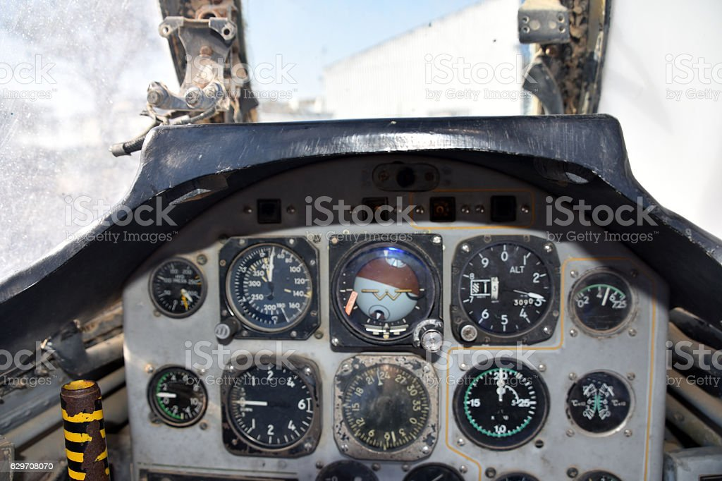 Old fighter aircraft interiors stock photo