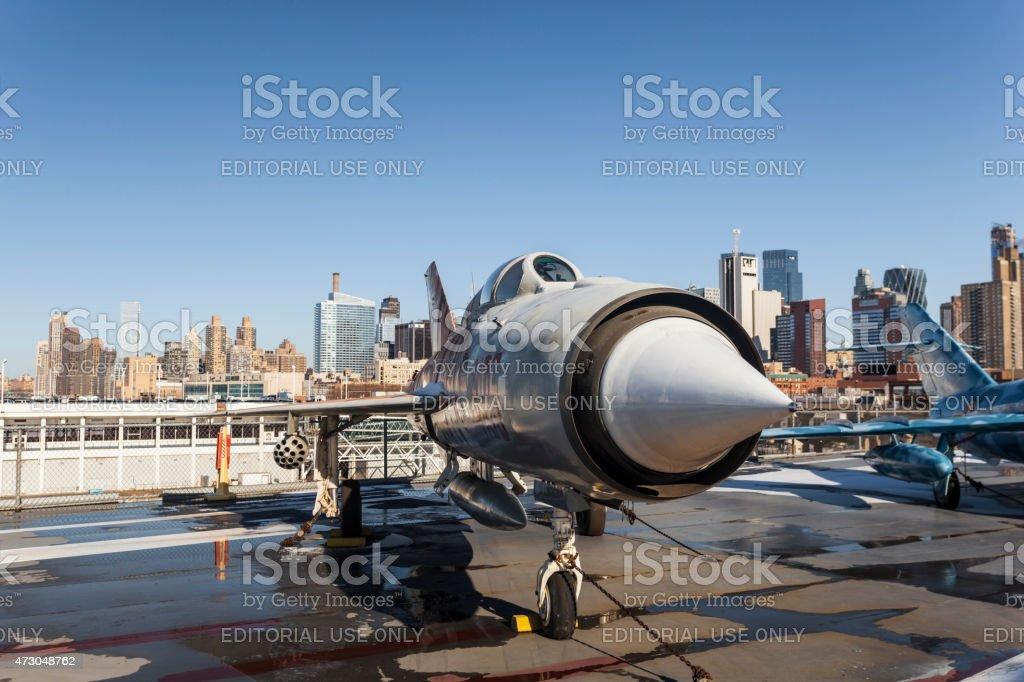 Old Fighter Jet on USS Intrepid stock photo