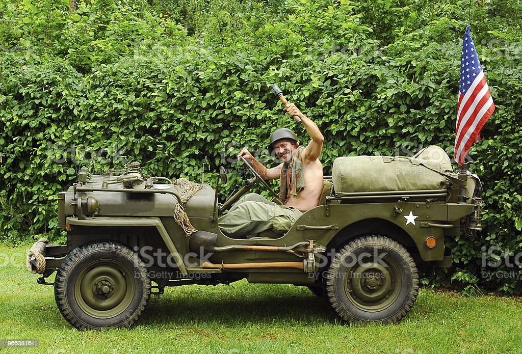 Old fighting jeep royalty-free stock photo
