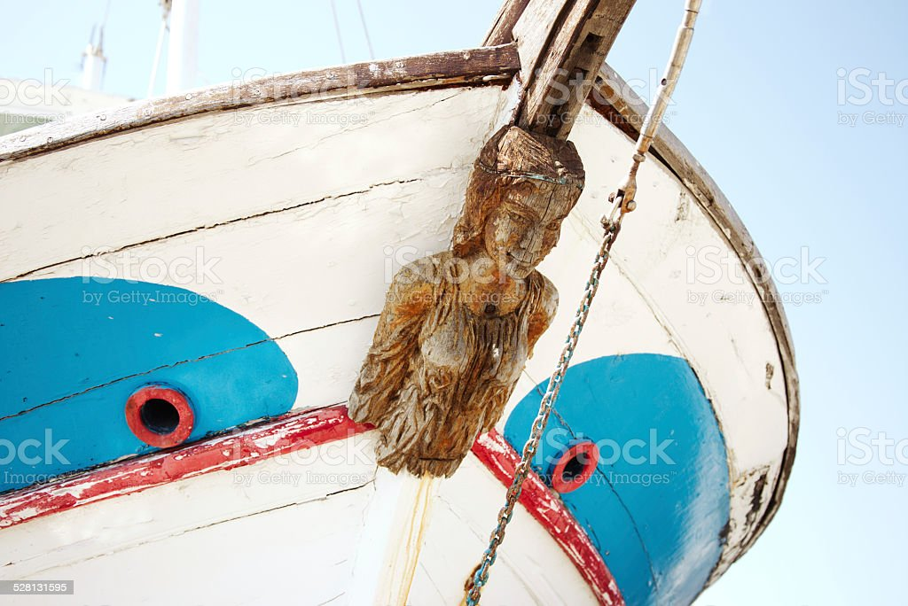Old Figurehead on Sailing Ships. stock photo