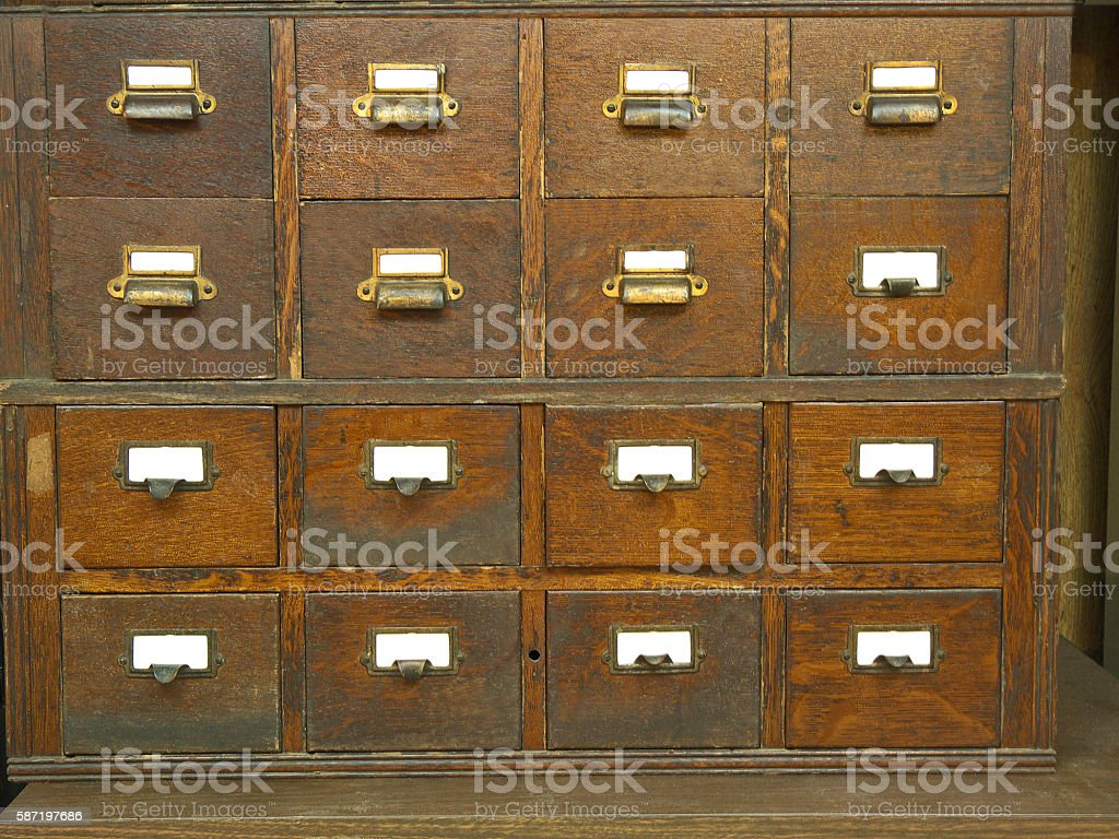 Old File Cabinet Face. stock photo